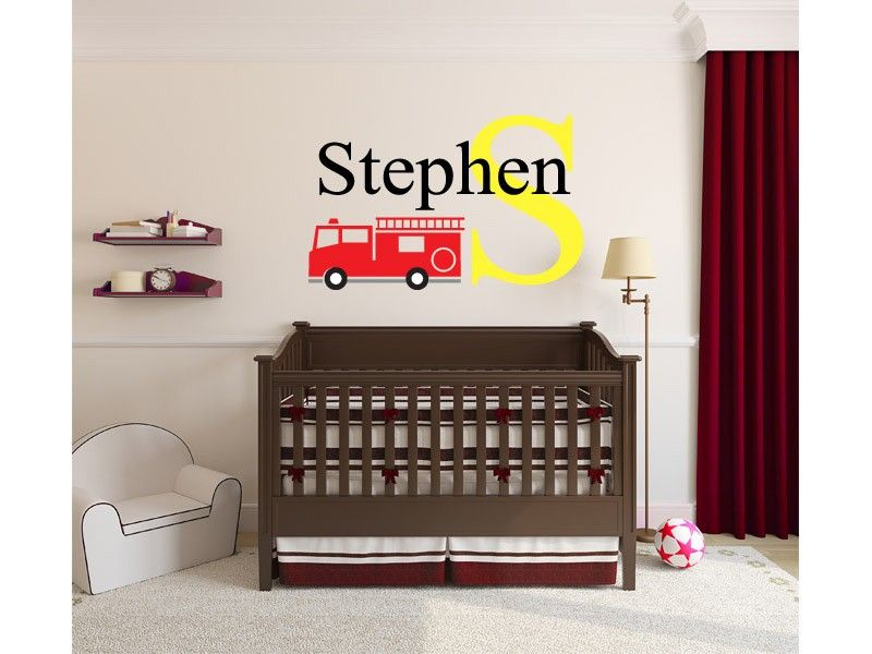 Boys Personalized Fire Truck Name Monogram Decal Custom Wall - Monogram wall decal for kids