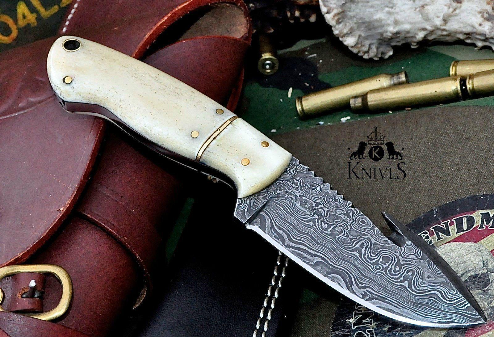 King 8 Gut Hook Handmade Skinning Hunting Knife Skinning Knife Knife Damascus Steel