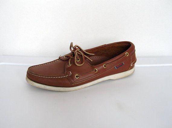 9eb20eaf389ba SOLD   Womens  Vintage 1980 - 90s Preppy   Brown Leather Sebago Docksides    Shoes by VelouriaVintage