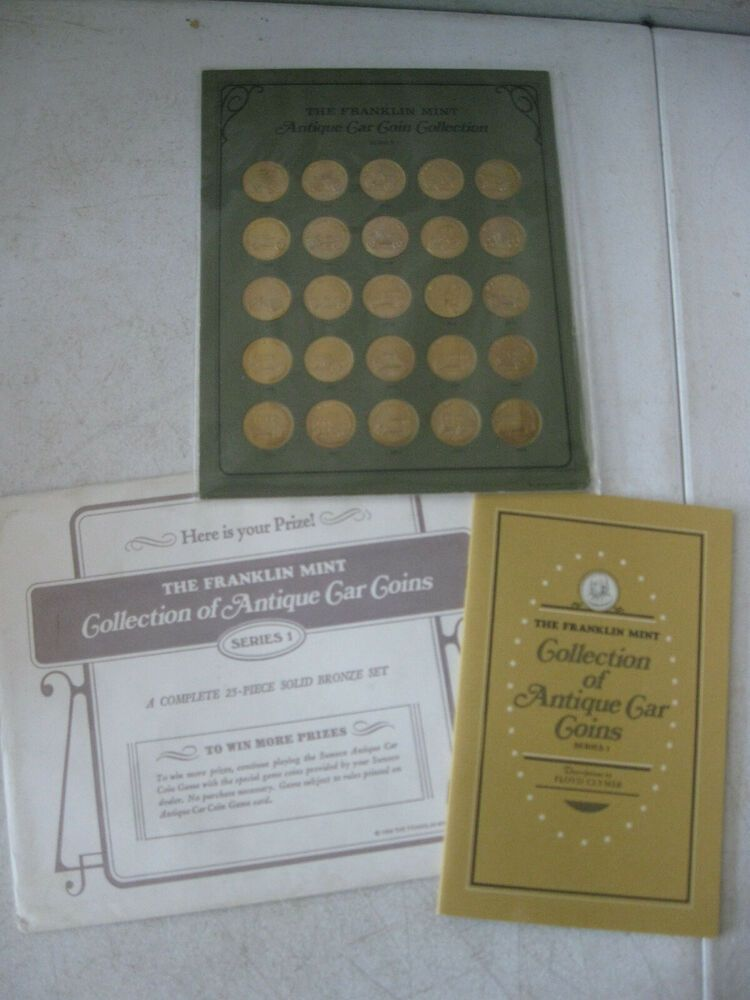 Vintage Bronze Car Coin Set From Sunoco Byfranklin Mint With Coa Vintage Bronze Coin Set Bronze