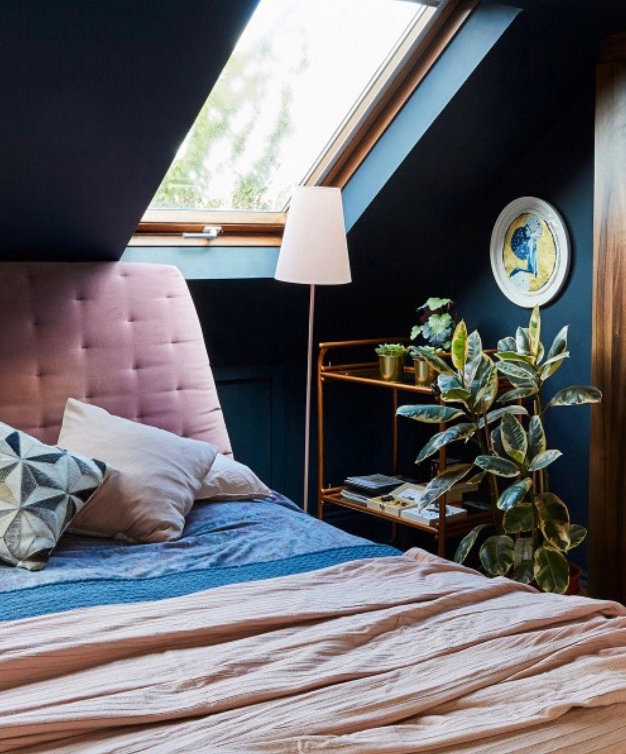 Chambre Sous Les Toits Amenagement Du Grenier Murs Bleu Canard