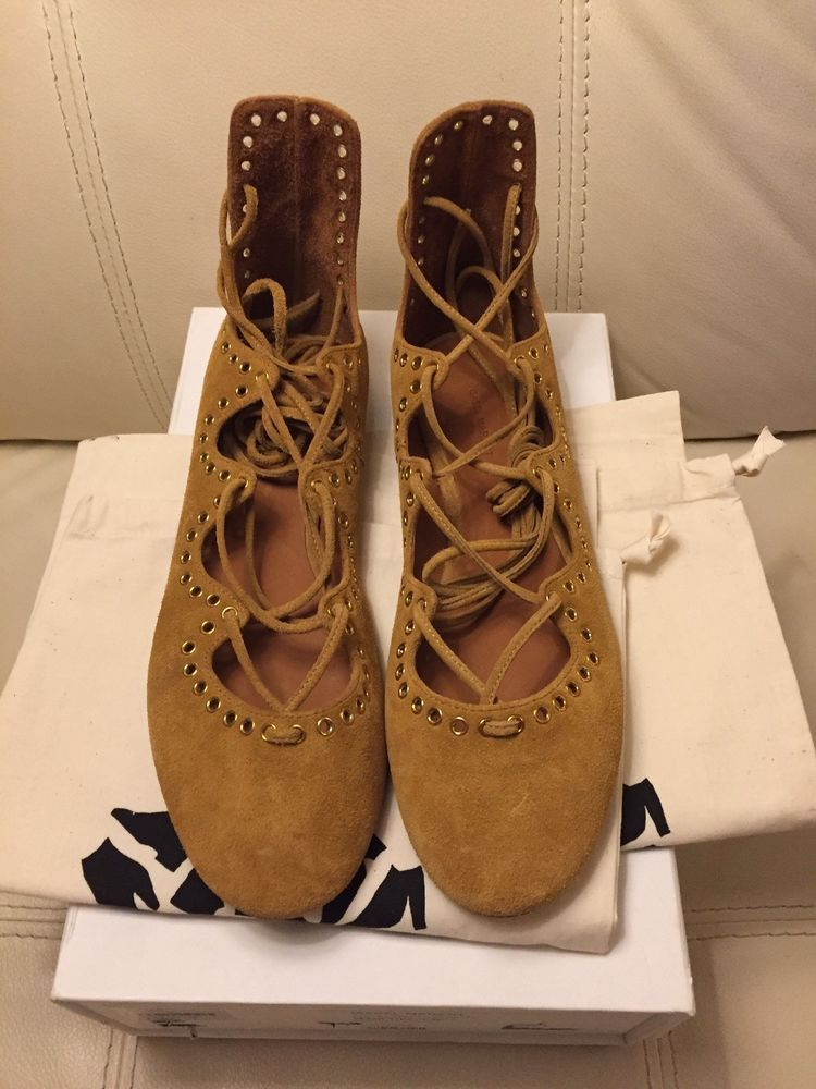 Isabel Marant Leo Grommet Ankle Wrap Ballet Flat 600 New Size Us 8