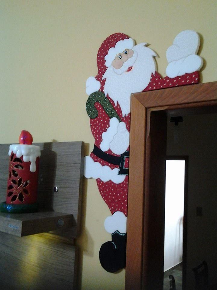papai noel de porta | marcos | Pinterest | Navidad, Adornos y ...