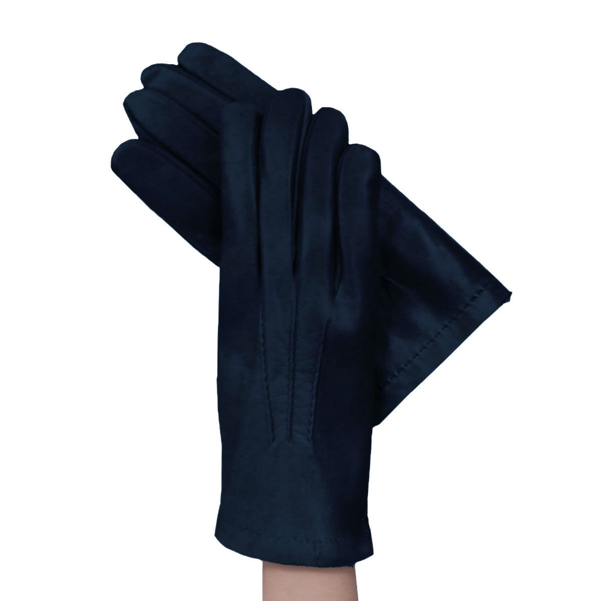 Made of genuine Italian kidskin leather, these men's navy blue leather gloves with outside stitching are lined with soft and warm cashmere. The ultimate navy blue leather dress gloves for men. - 100%