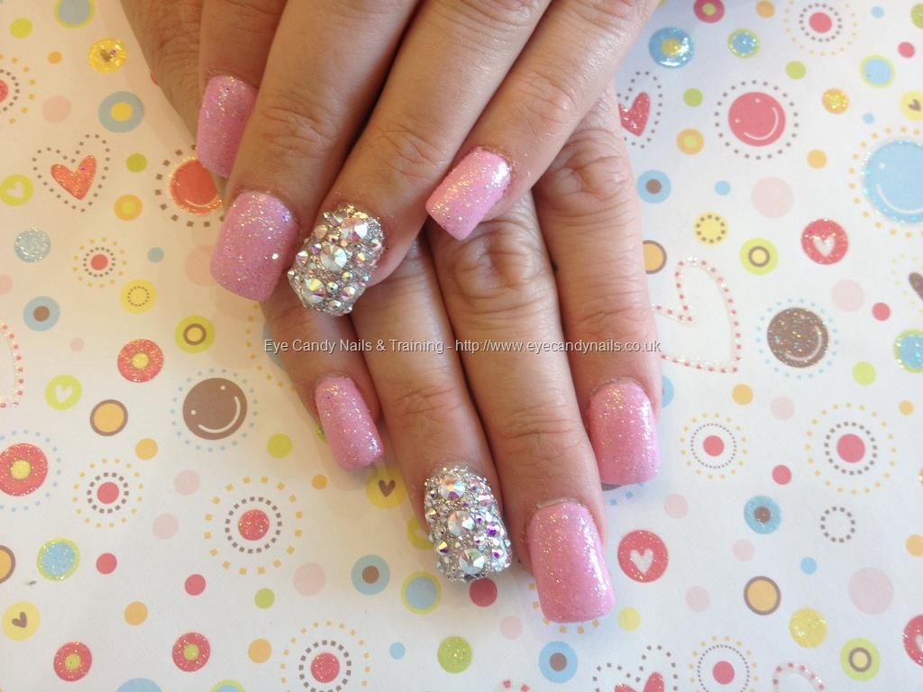 Full set of acrylic nails with Swarovski ring fingers and baby pink ...