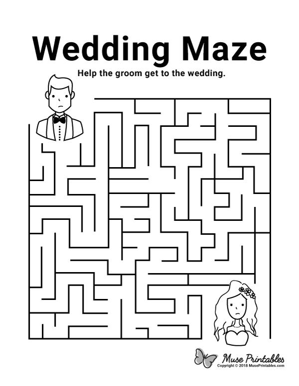 Free printable wedding maze. Download it at https