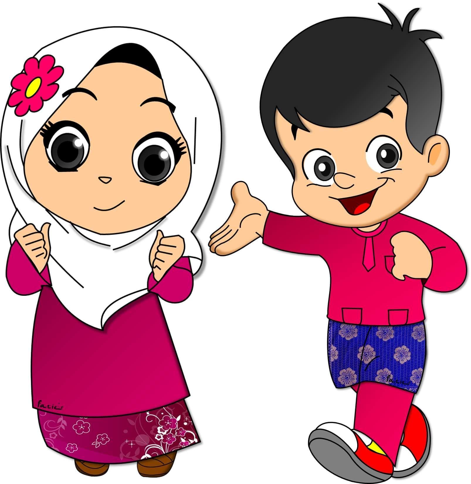 Gambar Kartun Anak Muslim Vector Kartun, Animasi, Gambar