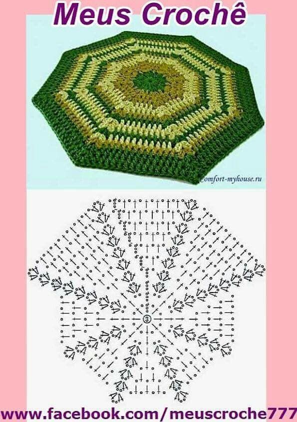CROCHET #Octagon #Granny #Square WITH DIAGRAM | Patrones crochet ...