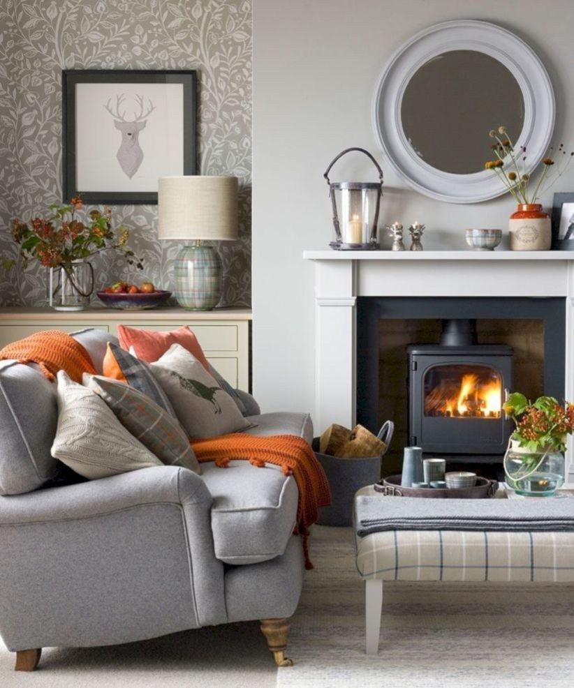 36 Cozy Winter Living Room Ideas With Fireplace Homeridian Com Winter Living Room Cosy Living Room Living Room Grey #winter #living #room #decor