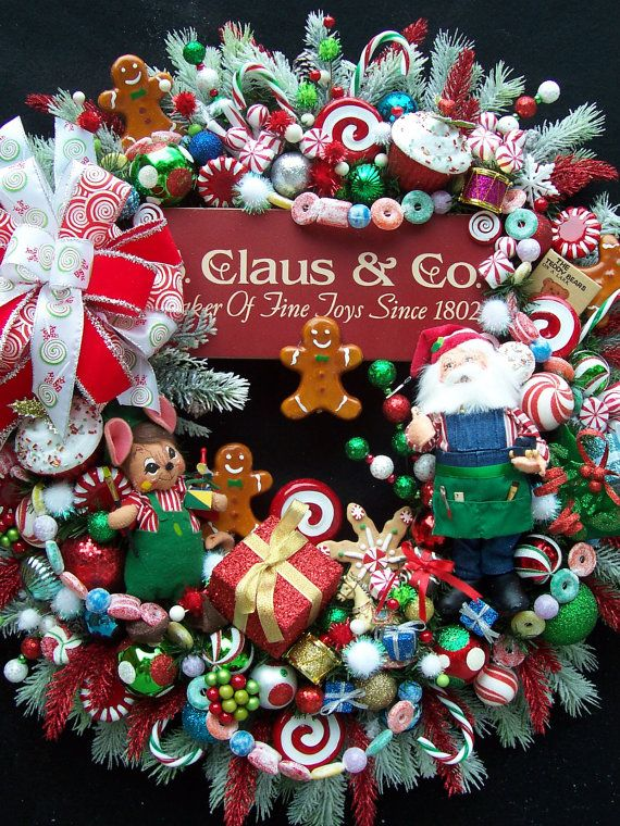 LAY-AWAY RESERVED for Cindy Christmas Wreath Santa's Workshop