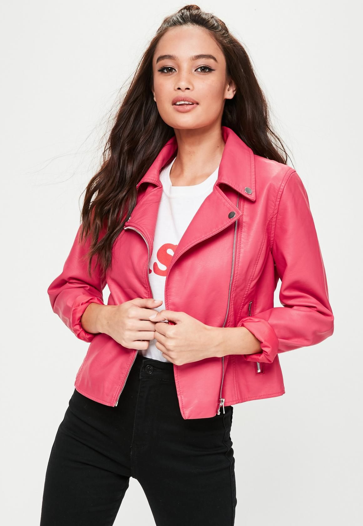 6acf1051a1a7 Pink biker jacket featuring PU fabric, long sleeves and two front pockets.