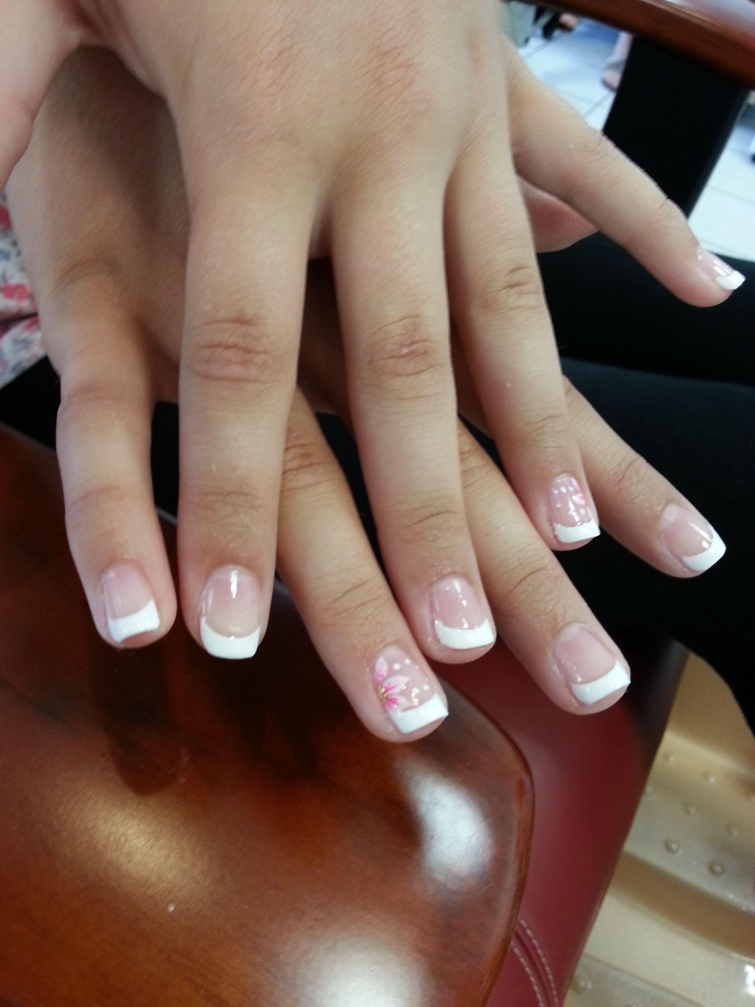 French nail for kid's. #frenchnail, #kidsnail, #nailforkid's, #flowernails, #naildesign,