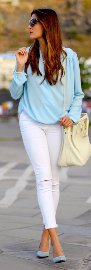 Light Blue And White Outfit by Marilyn's Closet