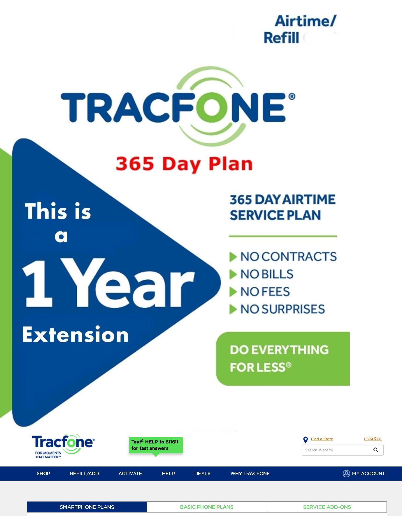 Phone And Data Cards 43308 Tracfone 1 Year 365 Days Service Extension Smartphone Digital Refill No Minu International Sim Card Travel Sim Card Verizon Prepaid
