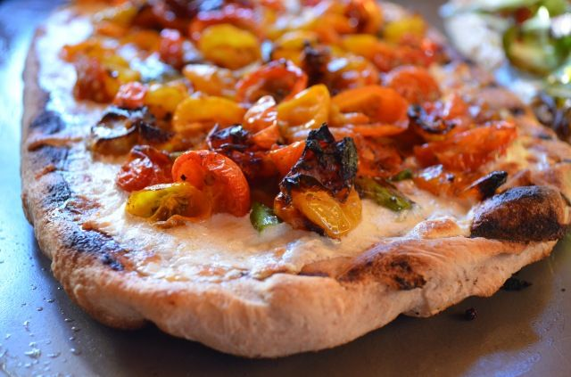 Roasted cherry tomato and asparagus pizza