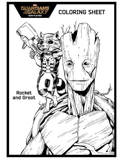 Rocket Groot Printable Coloring Page Guardians Of The Galaxy