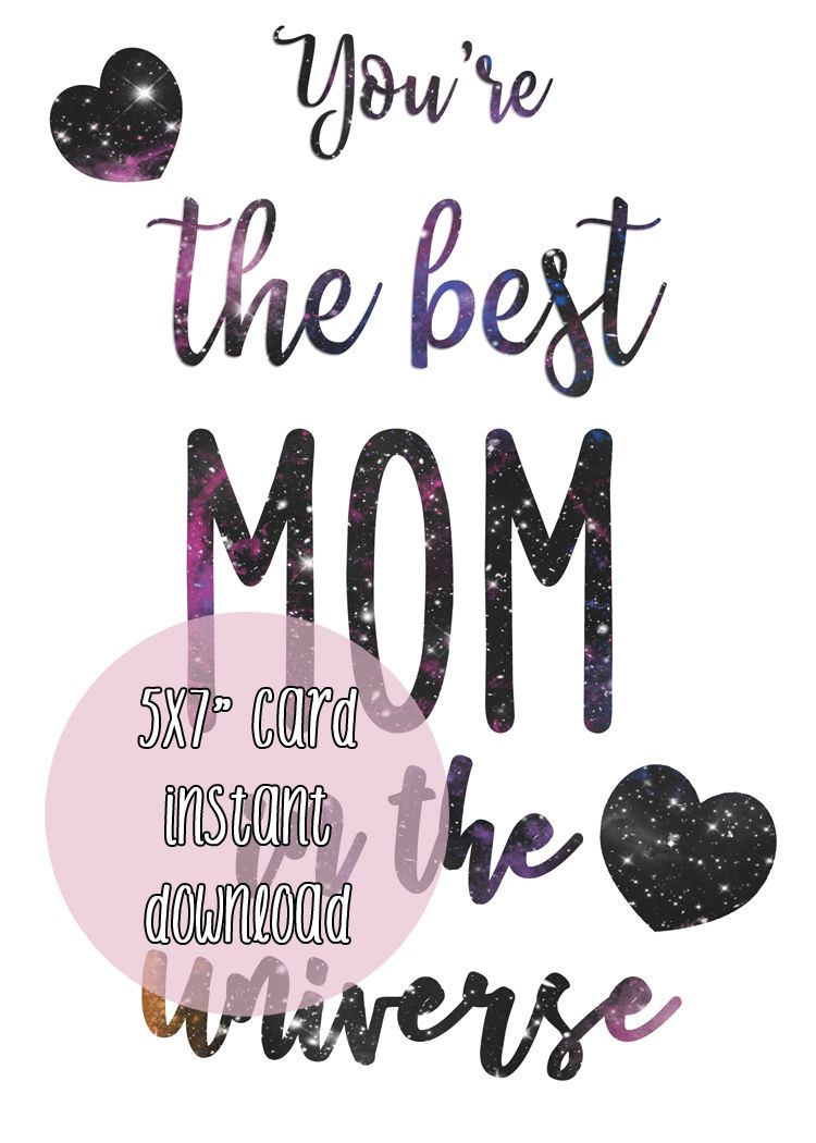 Happy Mother's Day card 'The best mom in the universe' 5x7