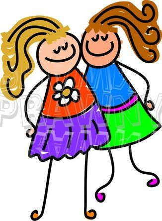 clip art cartoon friends happy cartoon two little girl friends rh pinterest com bff birthday clipart baby clipart black and white