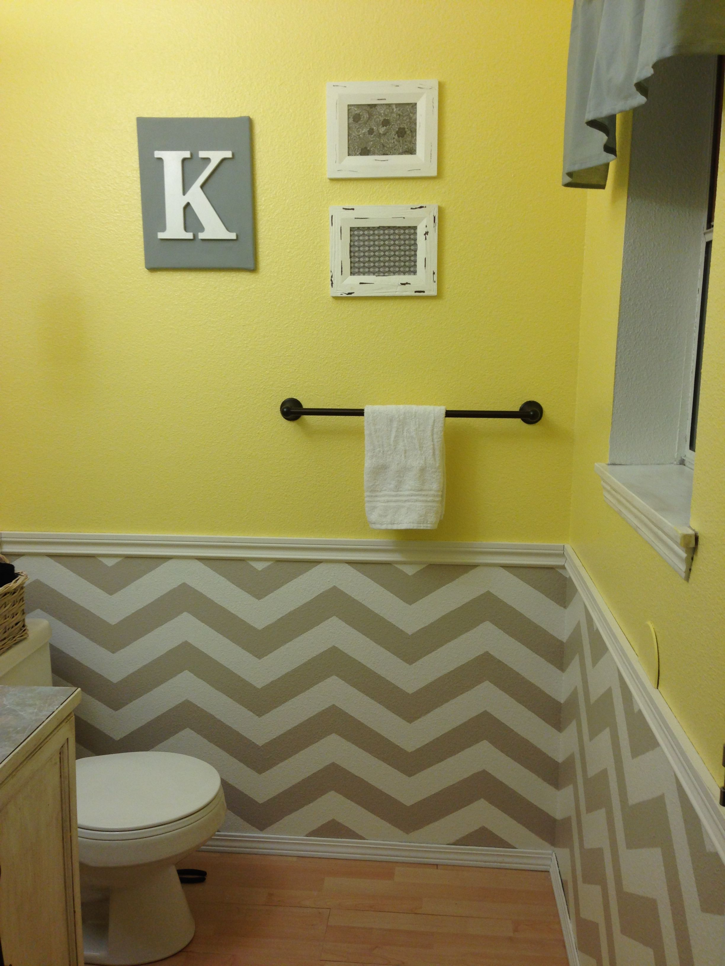 Simple chair rail, with 2 toned walls- Guest bathroom. Yellow with ...