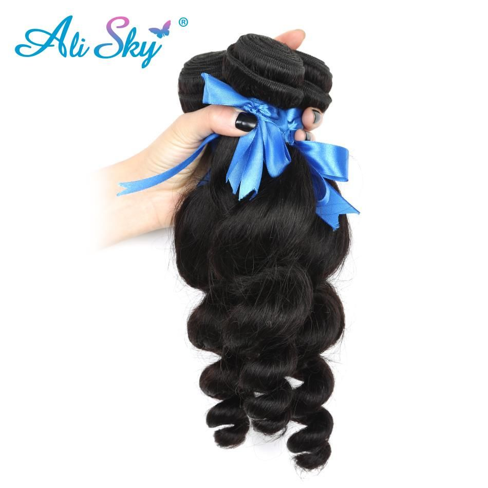 Human Hair Weaves 3/4 Bundles With Closure Body Wave Hair Bundles With Closure Brazilian Human Hair Weave 2 Bundles With Baby Hair Closure Ali Sky Human Non-remy Hair