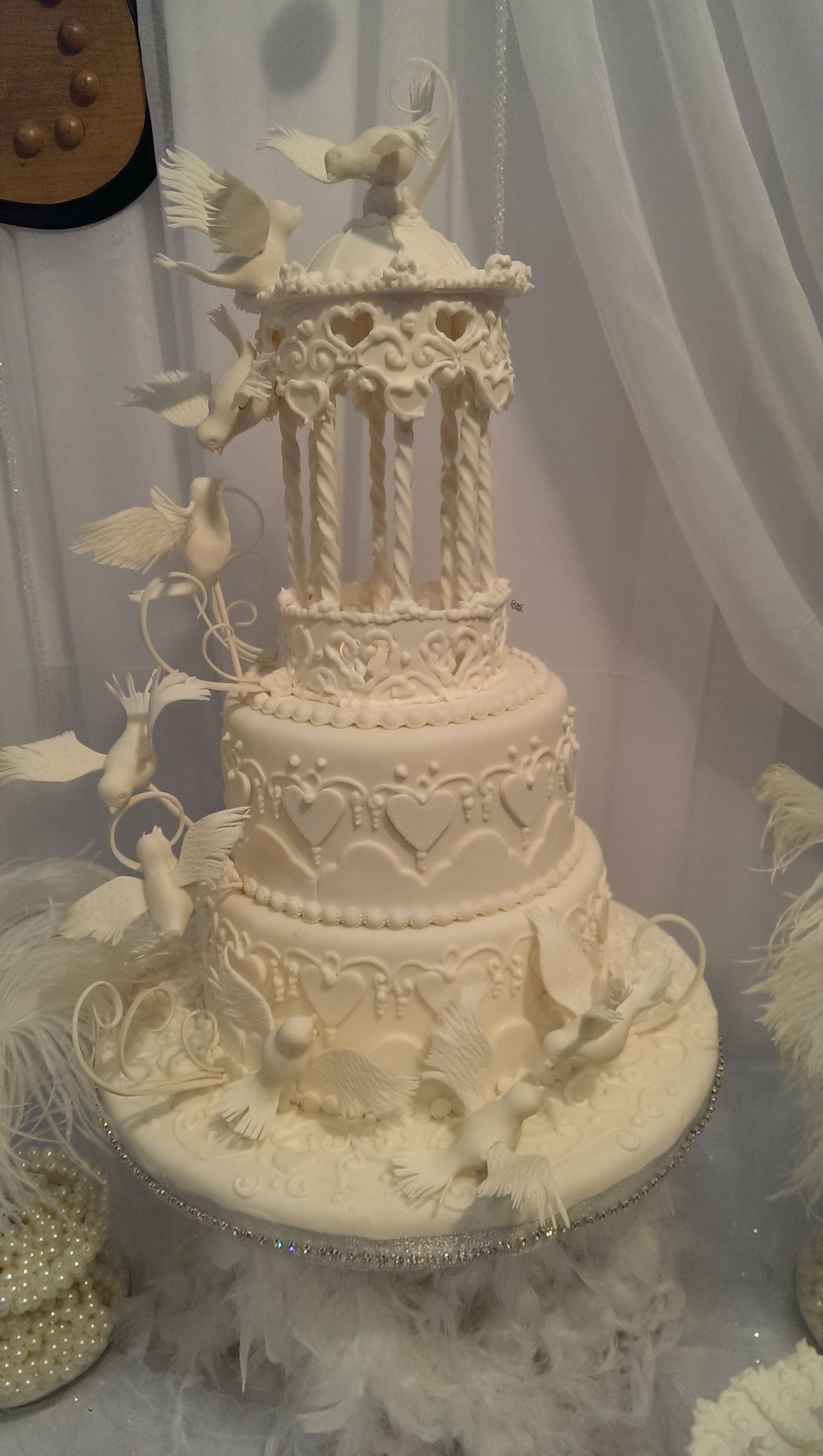 Gazebo and doves wedding cake with images wedding doves
