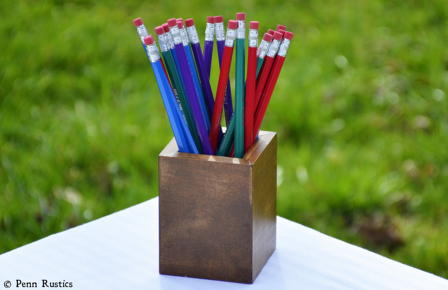 Everyday Rustic Wood Pencil Cup  http://www.pennrustics.com/home-goods/everyday-rustic-wood-pencil-cup