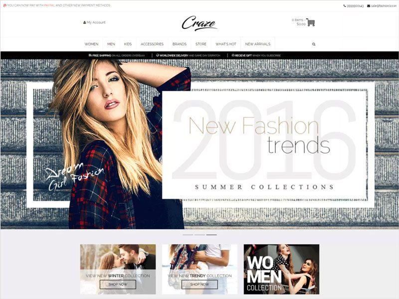 Craze-Free-WordPress-eCommerce-Theme | Dribbble Graphics | Pinterest ...