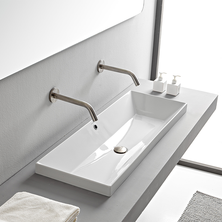 Rectangular White Ceramic Trough Drop In Sink Drop In Bathroom Sinks Drop In Sink Sink