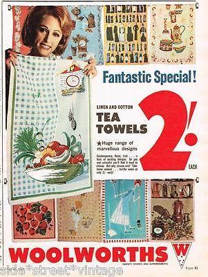 WOOLWORTHS AD RETRO TEA TOWELS  AUSTRALIAN  Vintage Advertising 1965 Original Ad