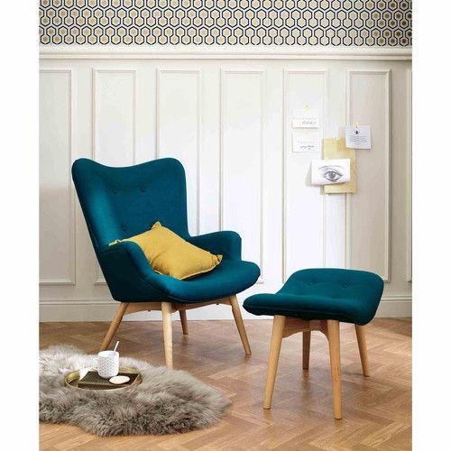 pouf repose pieds scandinave en tissu bleu p trole tissu. Black Bedroom Furniture Sets. Home Design Ideas
