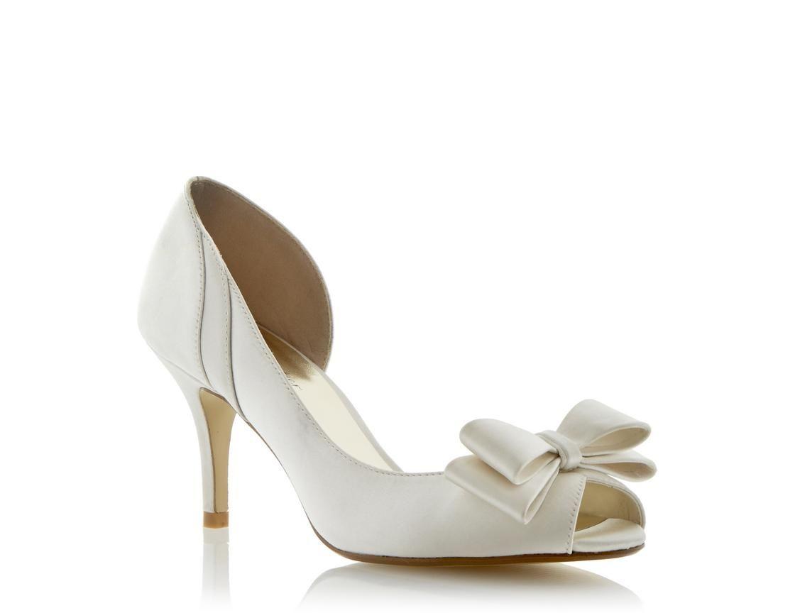 c0b712285cc Roland Cartier Ladies Bright DAMIANA - Semi D orsay Peep Toe Bow Trim Court  Shoe