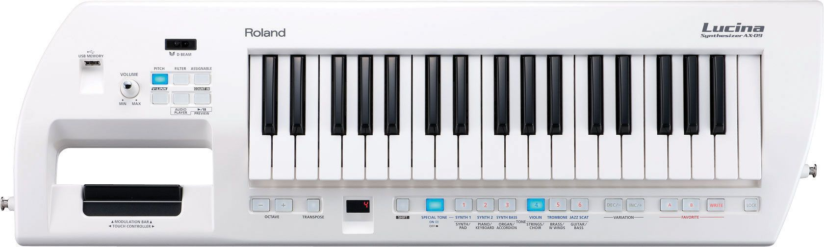 roland lucina ax 09 37 key keytar synthesizer pearl white keyboards roland synthesizer. Black Bedroom Furniture Sets. Home Design Ideas