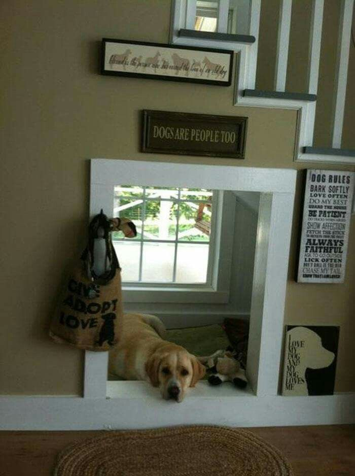 Check out this DOG HOUSE under the STAIRS....such a great idea!  via Crafty Morning