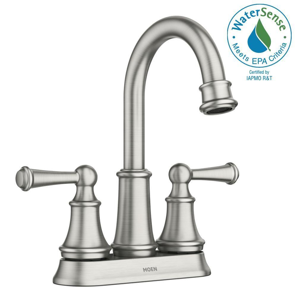 Moen Brecklyn 4 In Centerset 2 Handle Bathroom Faucet In Spot Resist Brushed Nickel 84162srn The Home Depot Bathroom Faucets Faucet Low Arc Bathroom Faucet
