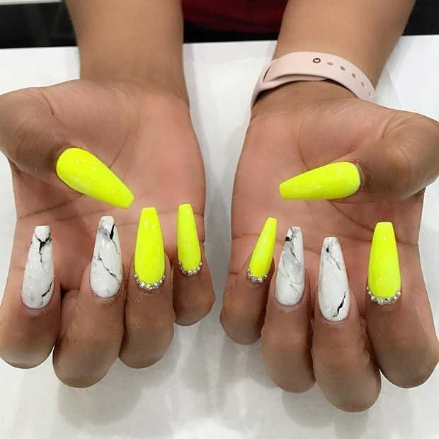 13 Unique Ways To Wear Marble Nails Coffin Nails Designs Yellow