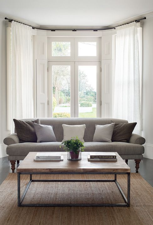 Stylish bay window poles made to order jim lawrence - Curtains for bay windows in living room ...