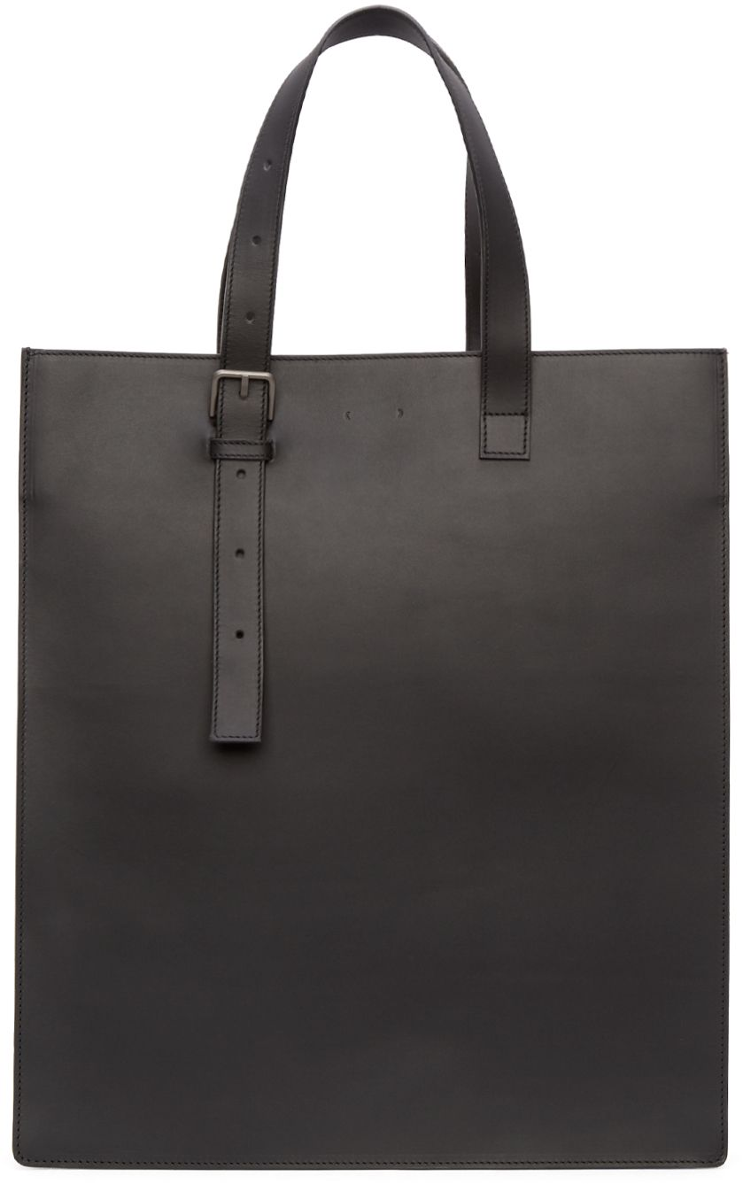 Pb 0110: Black Leather Tote Bag