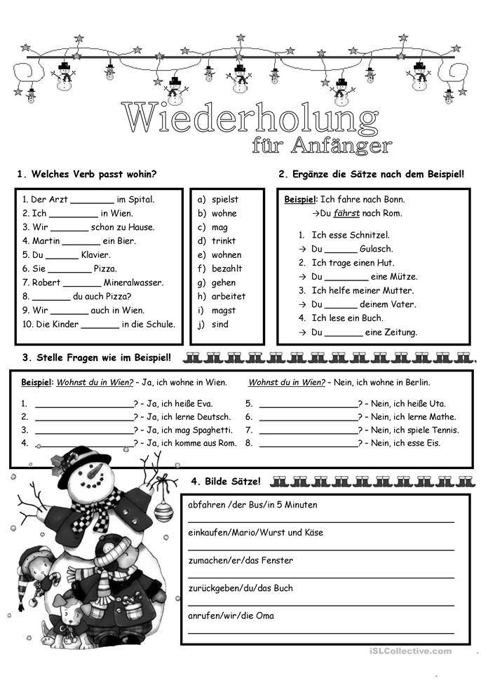 Wiederholung_7 | German language, Worksheets and Language