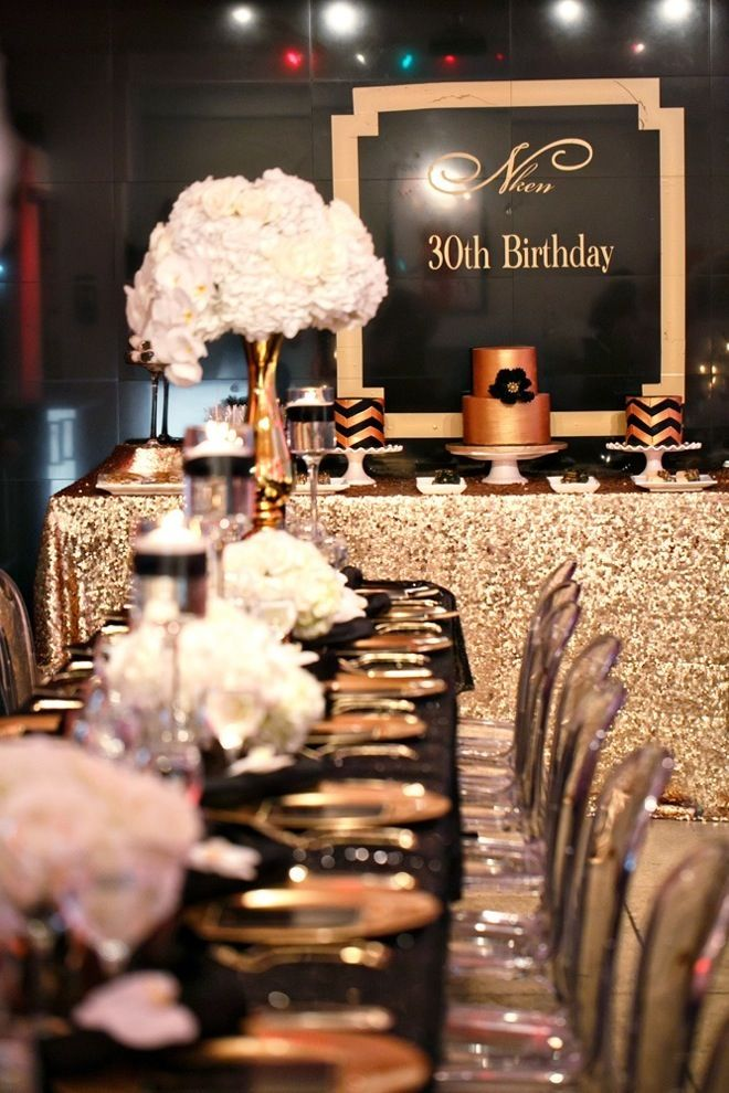 Black and gold party inspiration gold party couture and for 30th anniversary party decoration ideas
