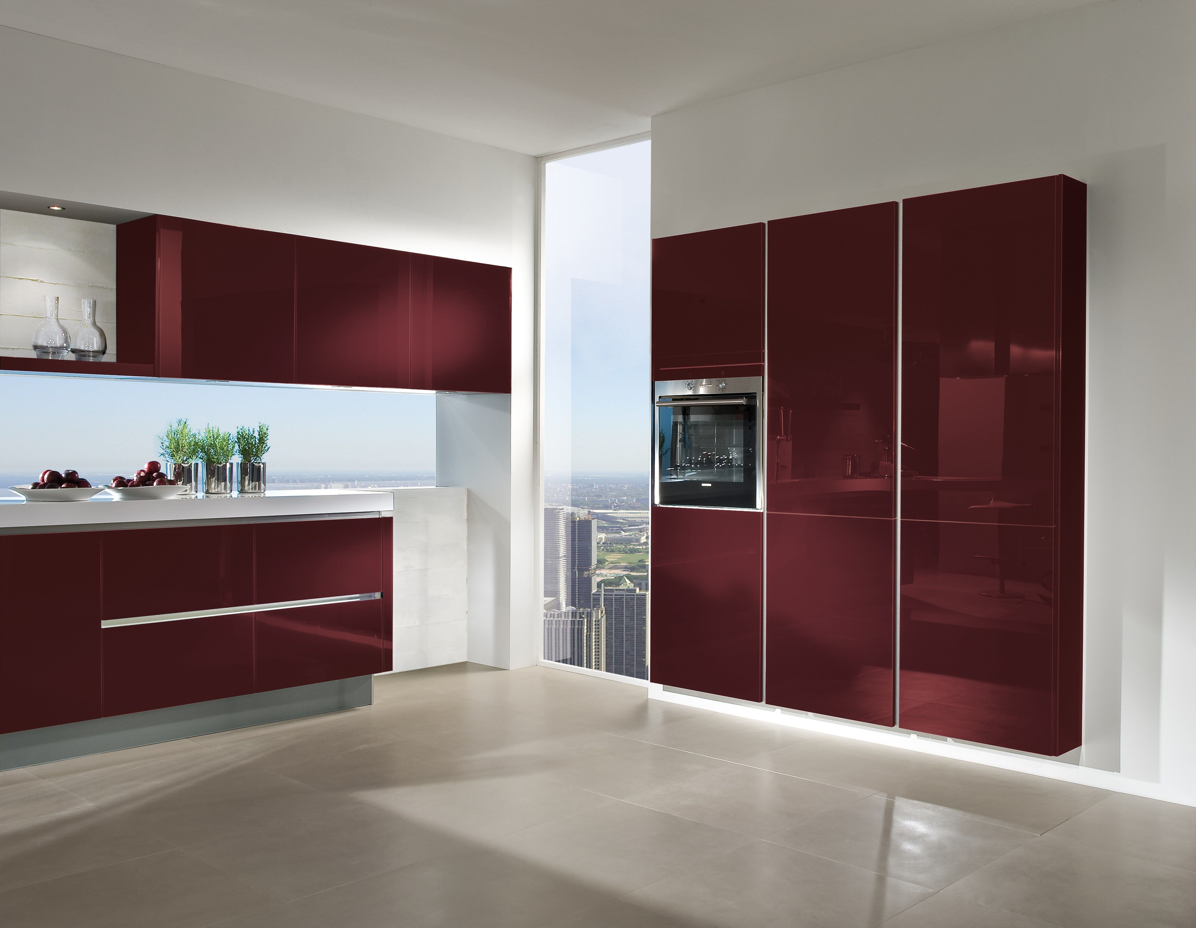Add A Splash Of Vibrant Colour With The 4030 Gl In Wine Red High Gloss Lacquer This Handleless Design Red Kitchen Cabinets Red Kitchen Red Kitchen Curtains