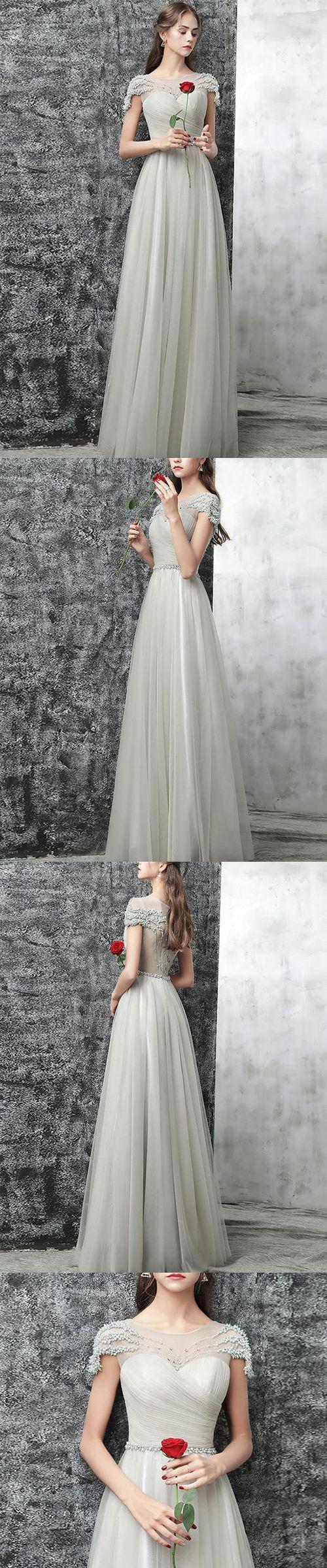 Elegant round neck cap sleeves gray tulle long promevening dresses