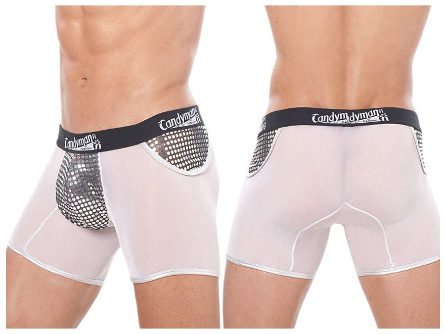 mens stretch sheer nylon and elastin boxer shorts with sequin silver glitter pouch front and sides detail has wide elastic band with candyman logo we