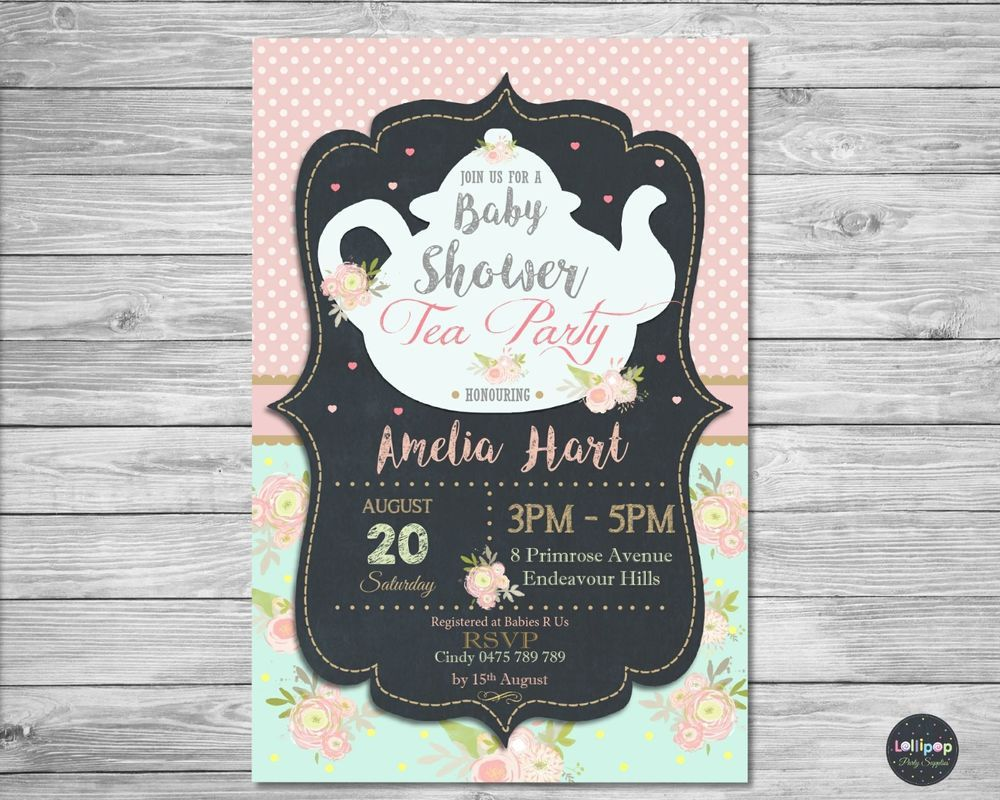 Baby shower high tea party invitations personalised invite girl ...