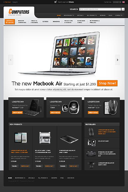 Computers Hardware ZenCart Templates by Hermes | Computers Hardware ...
