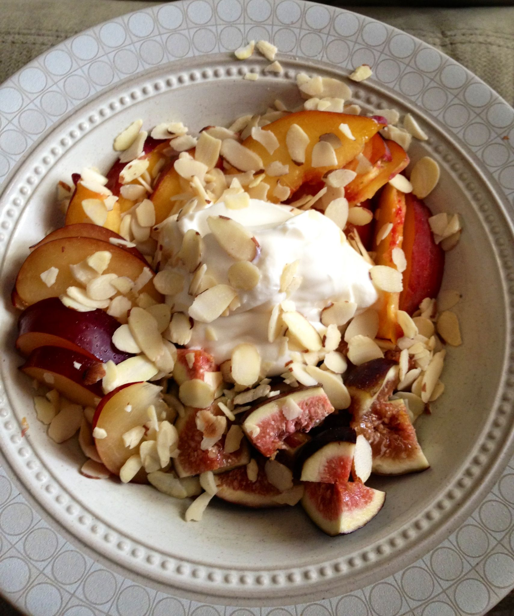 Figs, peaches, plums, Greek yogurt and slivered almonds- yummy!
