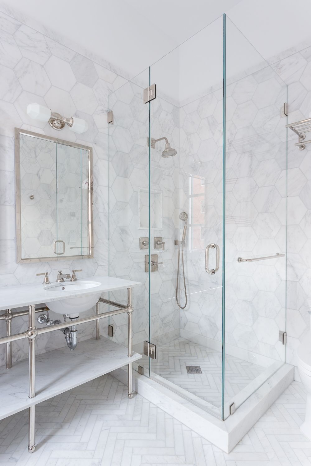 34 stunning marble bathrooms with silver fixtures hexagons white marble and marbles Marble hex tile bathroom floor