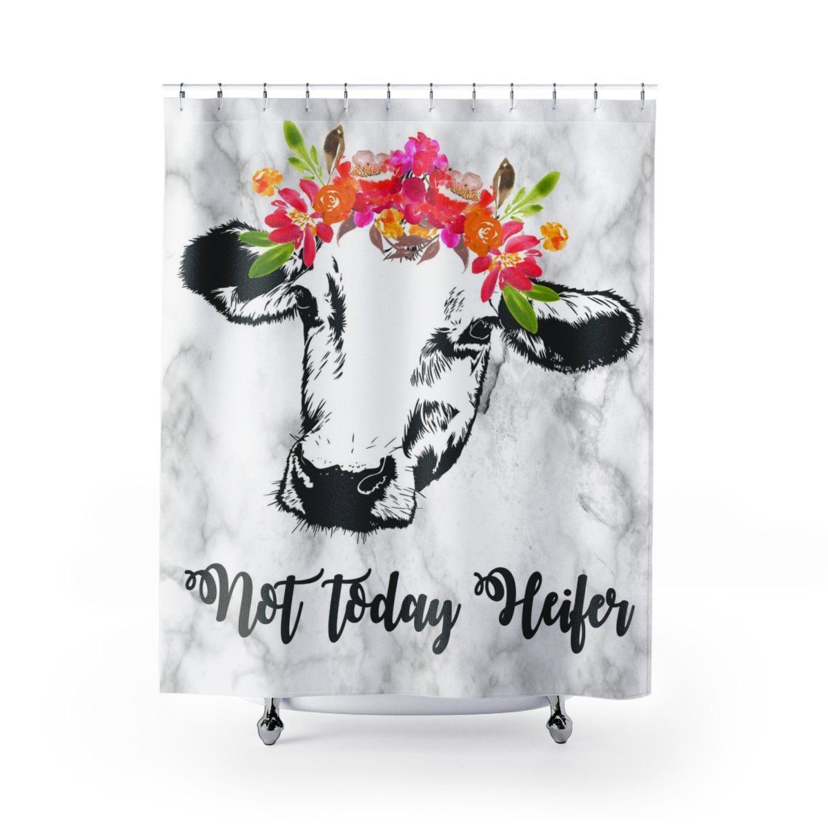 Not Today Heifer Farmhouse Shower Curtain Cow Shower Curtains