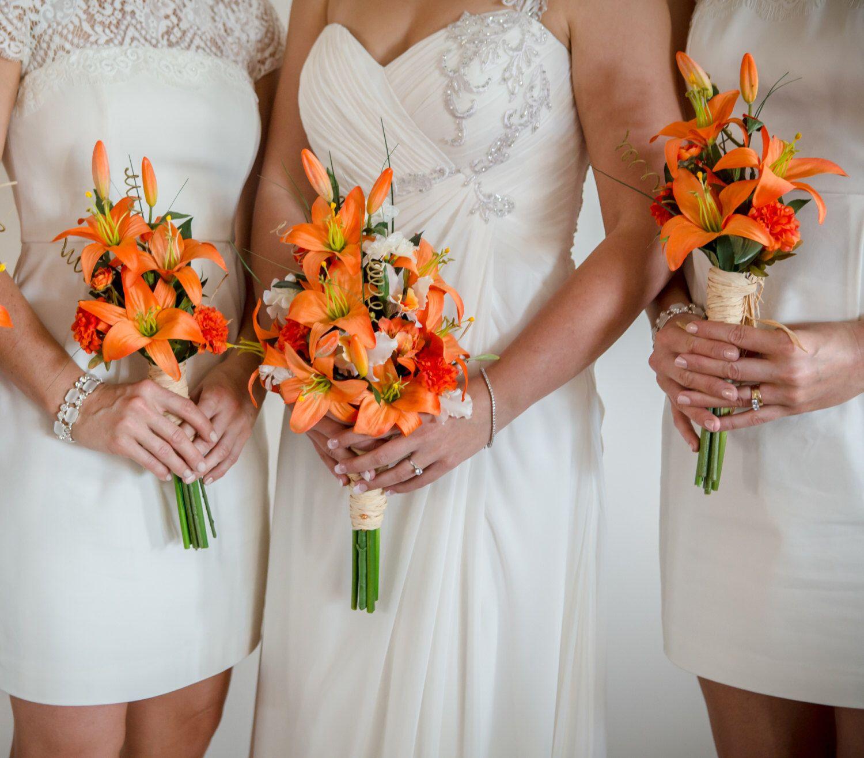 Destination wedding flowers orange tiger lily bouquet made