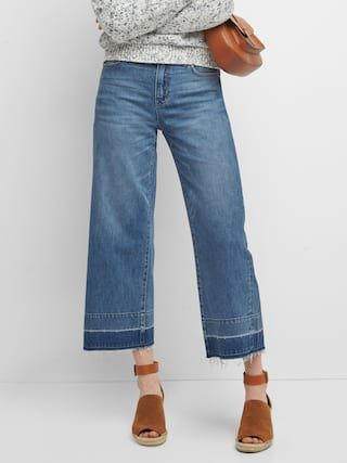 bfafd3b47f9d High rise let-down hem wide-leg jeans