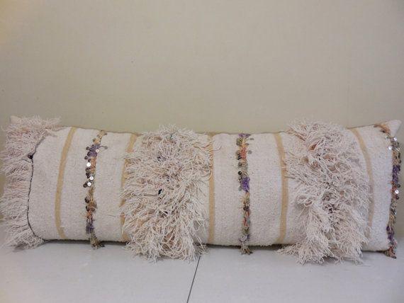 """VINTAGE Moroccan Handira Extra Long Lumbar Pillow Cover 40""""x 40 Enchanting Extra Long Decorative Lumbar Pillow"""
